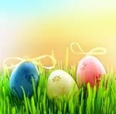 Покрашенные пасхальные яйца на зеленой траве Стоковое фото RF