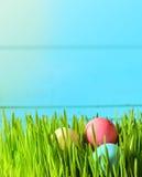 Покрашенные пасхальные яйца на зеленой траве Стоковые Изображения RF