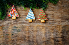 Покрашенные печенья рождественской елки Стоковая Фотография RF