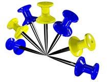 покрашенные пластичные pushpins Стоковые Изображения RF