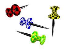 покрашенные пластичные pushpins Стоковые Фотографии RF