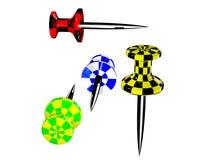 покрашенные пластичные pushpins Стоковое Изображение