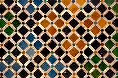 Покрашенные плитки в дворце Nasrid, Альгамбра, Гранаде, Испании Стоковое Изображение