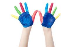 Покрашенные руки, изолированные на белизне Стоковое Изображение