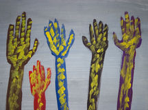 покрашенные руки конструкции Стоковые Фото