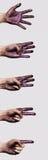 Покрашенные руки подсчитывая от 5 к одно Стоковые Изображения RF