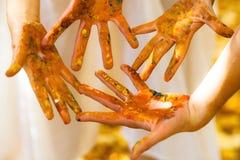 Покрашенные руки Стоковое Изображение