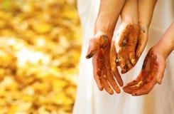 Покрашенные руки Стоковая Фотография