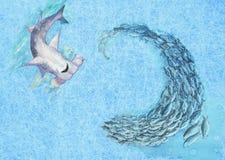 Покрашенные рукой акула и рыбы молота иллюстрация штока