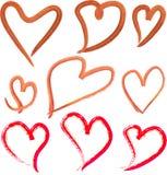 Покрашенные рукой рамки сердец иллюстрация штока
