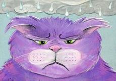Покрашенные рукой эмоции дождливого дня кота народного искусства унылые сердитые Стоковые Изображения RF