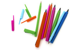 Покрашенные ручки изолировали белизну стоковая фотография rf