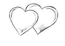 Покрашенные сердца на белой предпосылке Стоковая Фотография RF