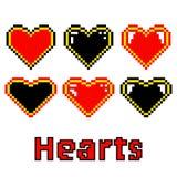 Покрашенные сердца сделанные из пикселов Стоковые Изображения