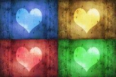 Покрашенные сердца Grunge Стоковые Изображения RF