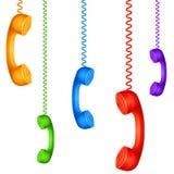 Покрашенные телефонные трубки Стоковые Фотографии RF