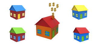 Покрашенные установленные дома Иллюстрация вектора