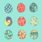 Покрашенные установленные пасхальные яйца иллюстрация штока