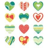 Покрашенные установленные сердца Стоковые Фотографии RF