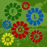 Покрашенные цветки весны с предпосылкой Иллюстрация вектора