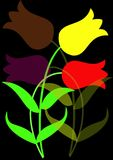 покрашенные цветки иллюстрация вектора