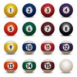 покрашенные шарики бассейна 1 до 15 и zero шарик Стоковое фото RF