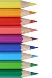 Покрашенные школьные принадлежности темы карандашей, студент, назад к школе Стоковое Изображение