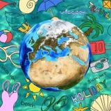 Покрашенные эскизы лета вокруг земли Стоковое Фото