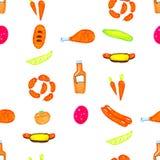 Покрашенные яркой отметки нарисованные рукой chiken, огурец, горячая сосиска, томат, картина сосиски безшовная иллюстрация штока