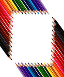 покрашенные crayons рамка сделала вне рисовали Стоковое Изображение
