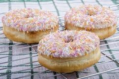 Покрашенные Donuts с сахаром замороженности и брызгают Стоковые Фотографии RF