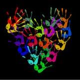 Покрашенные handprints Стоковая Фотография