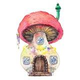 Покрашенный акварелью дом фантазии fairy в грибе Стоковые Изображения