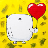 Покрашенный белый плюшевый медвежонок с сердцем воздушного шара Стоковые Фотографии RF