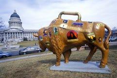 Покрашенный бизон, проект искусства общины, Олимпиады зимы, капитолий положения, Солт-Лейк-Сити, UT стоковое изображение rf