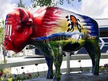 Покрашенный буйвол в Jackson Hole Вайоминге стоковая фотография rf