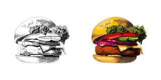 Покрашенный бургер, большой очень вкусный сандвич, иллюстрация, Стоковое фото RF