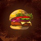 Покрашенный бургер, большой очень вкусный сандвич, иллюстрация, Стоковые Изображения RF