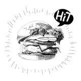 Покрашенный бургер, большой очень вкусный сандвич, иллюстрация, Стоковые Фотографии RF