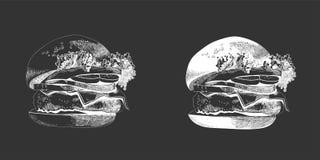 Покрашенный бургер, большой очень вкусный сандвич, иллюстрация, Стоковая Фотография RF