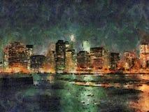 Покрашенный взгляд ночи Манхаттана, Нью-Йорка, США Стоковая Фотография