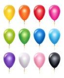 Покрашенный воздушный шар Воздушные шары вектора 3d украшения дня рождения реалистические иллюстрация штока