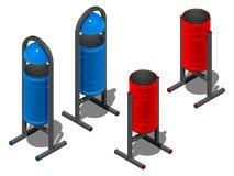 Покрашенный вокруг мусорных ведер, сини и красного цвета равновеликая иллюстрация на белой предпосылке Стоковые Изображения RF