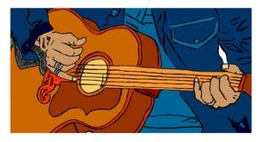 Покрашенный гитарист Стоковое Изображение