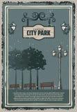 Покрашенный годом сбора винограда плакат парка города Стоковые Фото