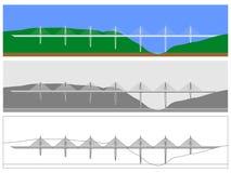 Покрашенный горизонт моста Мийо и план только иллюстрация вектора