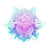 Покрашенный графиком кот вектора Стоковые Изображения