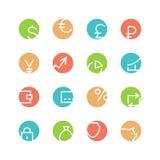Покрашенный деньгами комплект значка Стоковое Изображение
