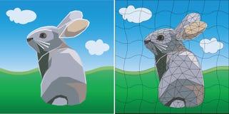 Покрашенный зайчик пасхи мозаики Плоский дизайн иллюстрация штока