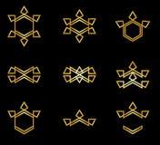 Покрашенный золотом минимальный набор иллюстрации дизайна логотипа стоковая фотография